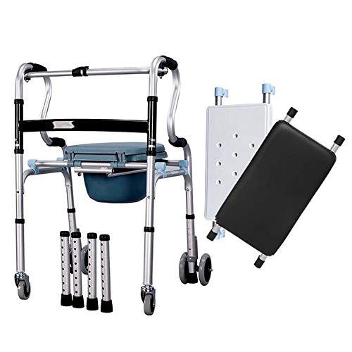 Rolstoel met zitwandelen met wiel met armleuning inklapbare douchestoel, vrij omschakelbaar toilet/zitting/wiel, in hoogte verstelbaar