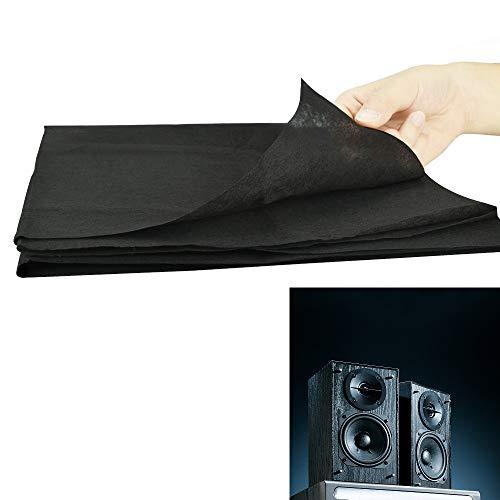 AFASOES Lautsprecher Akustikstoff Bespannstoff Schwarz Lautsprecher Grill Tuch Stoff 170 cm x 50 cm Staubdicht Lautsprecher Mesh Tuch Schutzgitter Staubschutz für Lautsprecher Stereo Audio