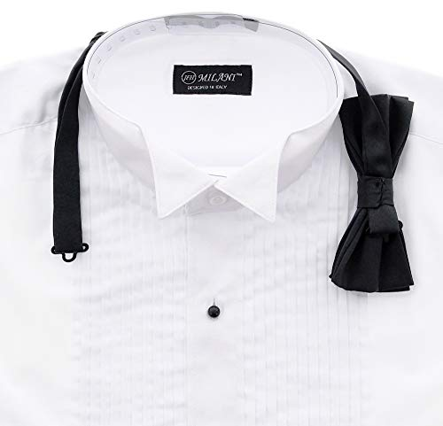 Milani Men's Tuxedo Shirt with French Cuffs and Bow Tie
