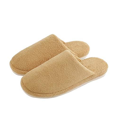 WXYPP New bomull tofflor Indoor Slippers frotté tyg bekväm och andas halkfri mjuk undersida tofflor för kvinnor lämplig (färg: Ingefära, storlek: 24 cm)