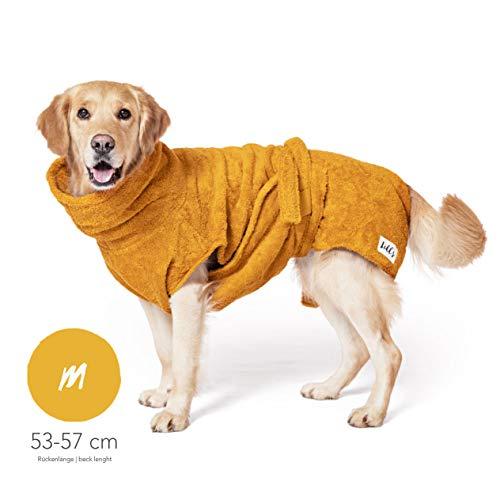 Lill's Hundebademantel, 100% Bio-Baumwolle, Organic Amber (Gelb) (M)