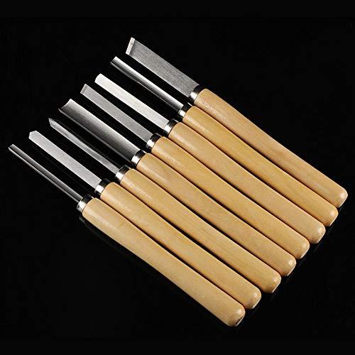 Taidda Cinceles de torneado de Madera, Peso Ligero portátil 8pcs/Set Juego de cinceles de Torno de Madera Herramientas de torneado Gubia de Madera Carpintería Inclinada para carpi