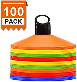 [ 100 Pack ] Disc Cones Agility Soccer Cones with Holder for Training, Football, Kids, Sports, Field Cone Markers,Soccer disc Cones