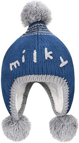 Miwaimao - Gorro para recién nacido, con diseño de pompón, para invierno, cálido, forro polar suave, para niños y niñas de 3 a 24 meses, color azul