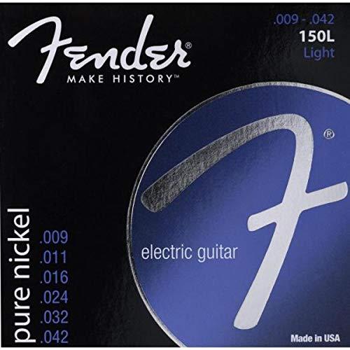 Fender 073-0150-403 Cuerdas de guitarra 150 originales, niquelado puro, extremo de bola, calibres 150L .009-.042, (6)