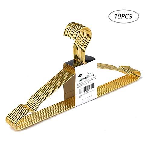 Amber Home 10 Stück 43cm eleganter hochwertiger Eisen Kleiderbügel Metall aus Gold mit Rutschfester Nut, Robust und Haltbar für Anzug T-Shirt Hemd Jacke Kleid