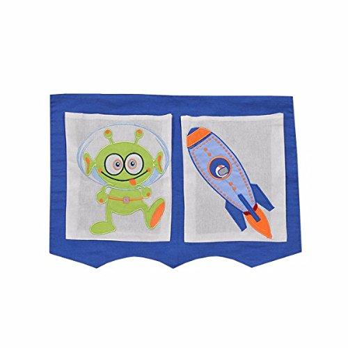XXL Discount Sac de rangement pour lit d'enfant Bleu/blanc 40 x 55 cm 100 % coton Rangement accessoires de lit Lit superposé Lit de jeu Sac en tissu Motif espace