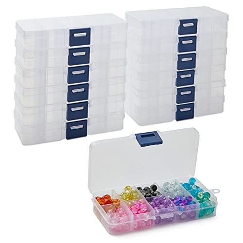 10 Grid Clear Jewelry Box, Adjustable Plastic Bead Storage Organizer (12 Pack)