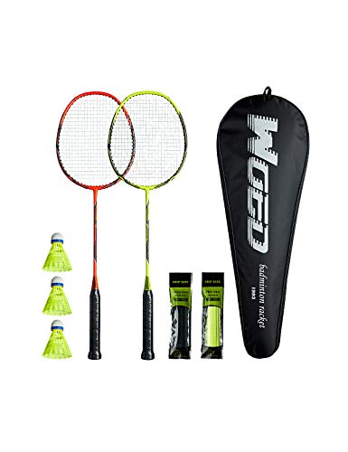WOED-2 Player Badminton Set, Carbon Fiber Badminton Rackets Badminton Racquet for Backyards Gym with 3 Shuttlecocks 2 Grip Tape and 1 Badminton Bag, Yellow Orange