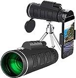 Binoculares de alta potencia, monoculares para observación de aves adultas, telescopio monocular HD de 40x60, monocular de prisma BAK4 FMC impermeable de alta potencia para niños con soporte y trípod