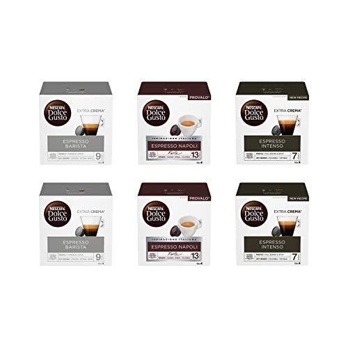 Nescafé Dolce Gusto Kit Degustazione di Caffè Espresso Barista, Espresso Napoli ed Espresso Intenso, 6 Confezioni da 16 Capsule (96 Capsule)