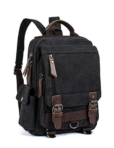 Leaper Retro Messenger Bag Canvas Rucksack Reisetasche Rucksack Sling Bag, schwarz (Schwarz) - BP5105