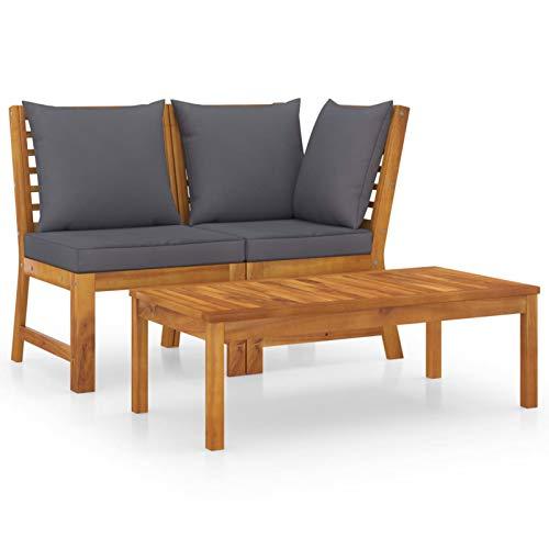 Tidyard Conjuntos Sofa Exterior Patio Muebles de jardín 3 pzas Madera de Acacia y Cojines Gris Oscuro
