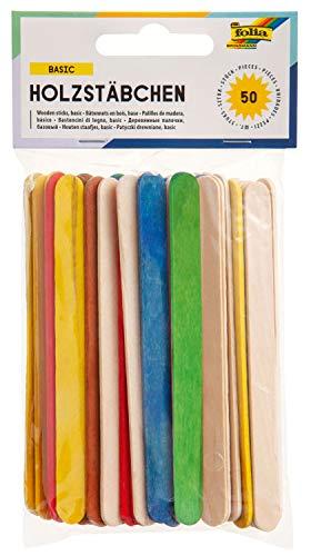 folia 2290 - Palillos de madera para manualidades, palillos de hielo, 114 x 10 x 2 mm, 50 unidades, 25 x naturales y 25 x colores surtidos, planos con extremos redondeados, para múltiples manualidades