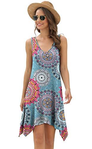 POPYOUNG Women's Summer Casual Dresses Sleeveless Beach Sundress XXX-Large, Floral Mix Blue