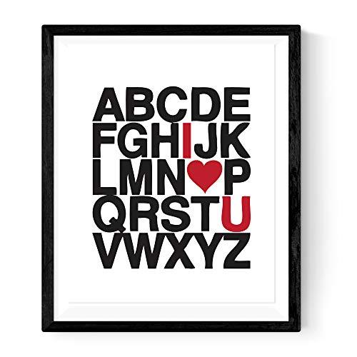 Nacnic Stampa Artistica Moderna Lettere dell'alfabeto in Bianco e Nero con in Rosso I Love You. per arredare Il Negozio, la Tua casa o Il Tuo Ufficio.