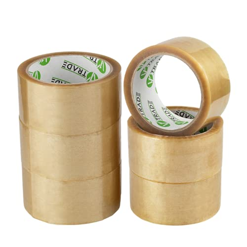 V1 Trade - Klebeband Transparent Packband SOLVENT-Klebeband - Paketklebeband, Packing Tape für Pakete und Kartons (48 mm x 66 m (6 Stück))