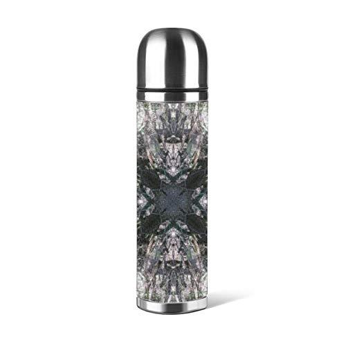 Art Fan-Design - Botella de Agua de Acero Inoxidable con diseño gótico de vidriera Cuadrada con Mandala, Aislado al vacío, de Piel a Prueba de Fugas, Doble Pared, contenedor de Viaje, Termo de 500 ml