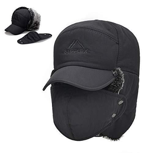 Winter Trapper Hats for Men Warm Trooper Hunting Hat with Ear Flaps Windproof Mask Ushanka Hat for Women(Grey)