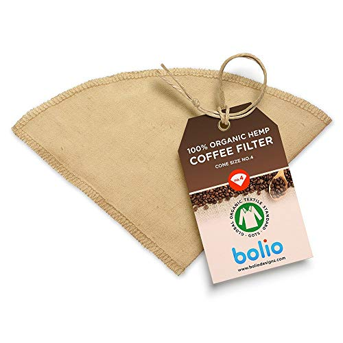 Organic Hemp Cone Coffee Filter Reusable and Great for Making Smooth Natural Tasting Pour Over Coffee Eco-Friendly Bacteria Resistant Material Suit with Bolio Chemex Coffee Gator Carafe (No.4, 1-pack)