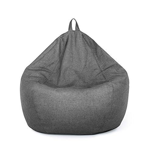 Classic Bean Bag Chair Sofa Cover, Lazy Lounger Bean Bag Storage Chair Cover Without Filling(M (80x90 cm) for Height Below 165cm,Dark Gray)