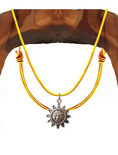 """Halskette """"Mantra Sonne"""" Vintage gelb Lederkette Tibetische Sonne Anhänger indischem Silber Herren Damen fashion trend Weihnachtsgeschenk"""