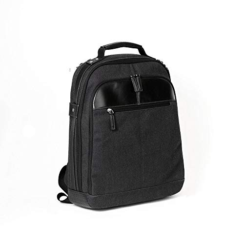 Boconi Bryant LTE City Leather 17' Laptop Backpack in Black