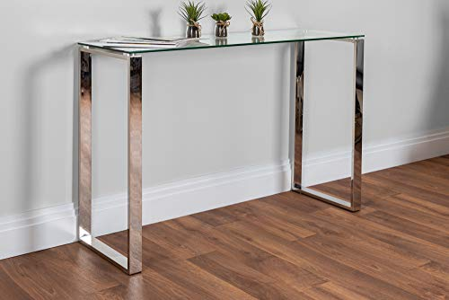 Miami Large Modern Clear Glass and Stylish Chrome Silver Metal Console...