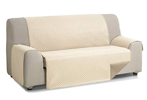 Martina Home Diamond Cubre Sofa Acolchado Reversible, Beige - Cuero, 2 Plazas