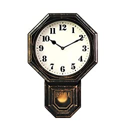 "Signature Dark Iron Antique Mini Pendulum Wall Clock, Simulate Metallic Vintage Texture, Non Ticking Silent Sweep Movement, 11.4"" x 17"" x 2.4"", Retro Classic Style, Plastic Frame with ABS Glass"