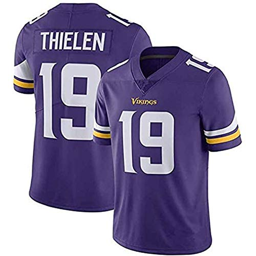 L-SLWI Adam Thielen #19 Custom Men's American Football Jersey Vikings Minnesota Rugby Game Jersey Embroidered Short Sleeve T-Shirt,Blue,L