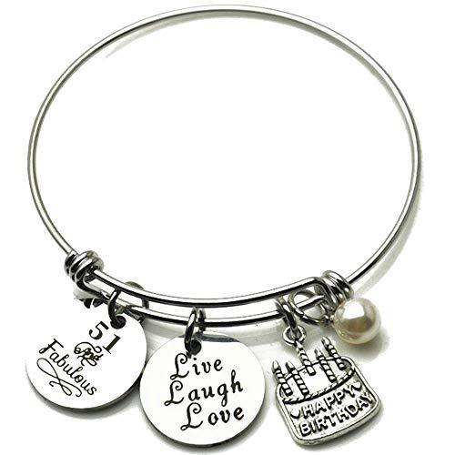 Jude Jewelers Stainless Steel Happy Birthday Cake Charm Live Love Laugh Mantra Bangle Bracelet (51)