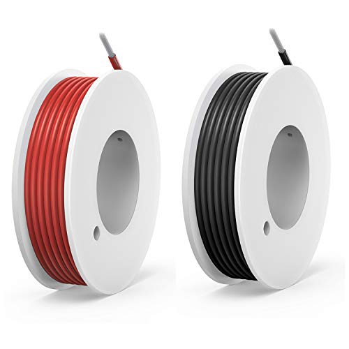 24 awg Silicone Electrical Wire Cable 2 Colors (30ft Each) 24 Gauge Hookup Wires kit Stranded Tinned Copper Wire Flexible and Soft for DIY