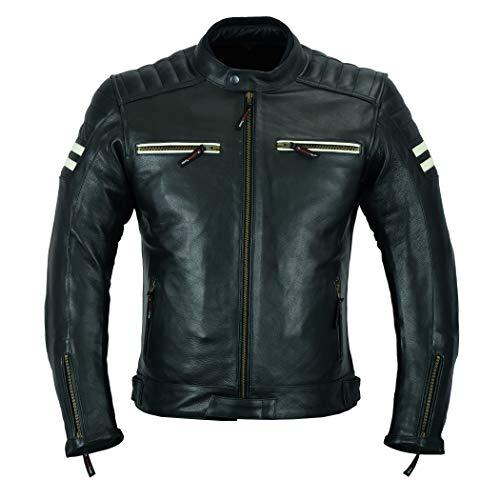 Giacca da moto in pelle, con protezioni, altamente protettiva, colore nero/bianco, LJ-3026A