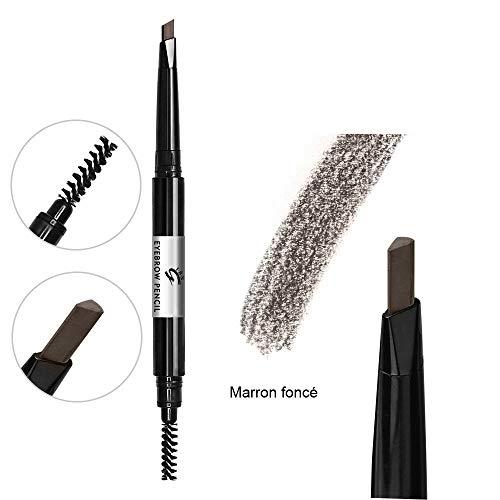 Marron foncé Crayon à sourcils avec brosse à peigne, crayon à sourcils rétractable imperméable à l'eau (Marron foncé #6)