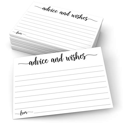 """321Done Advice and Wishes Cards (50 Cards) 4"""" x 6"""" White Blank Well Wishes for Wedding, Bridal, Mr and Mrs, Retirement, Baby Shower - Words of Wisdom - Made in USA"""