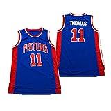 Camiseta de Baloncesto para Hombre Isiah Thomas 11# Detroit Pistons Street Camiseta Retro Verano Bordado Tops Niño Swingman Baloncesto Traje Regalo de cumpleaños (S-3XL)-Blue-L(175.180cm)