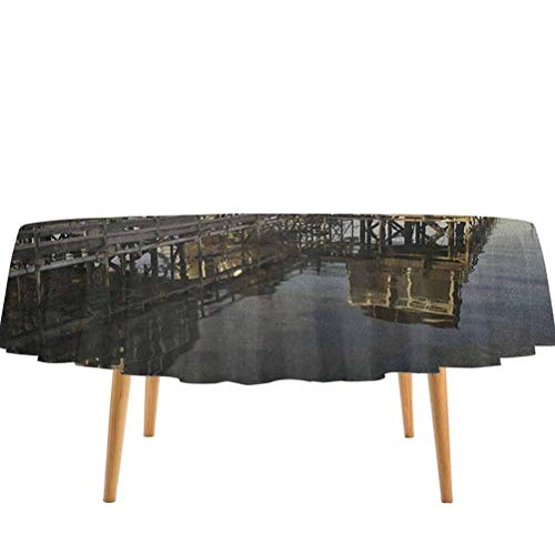 prunushome United States Dining Table Cover Sunset Over Nantucket Massachusetts Dramatic Sky Clouds Pond Houses Wrinkle Free/Washable/Reusable Coral Blue Sepia (60' Round)