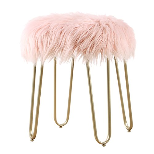 IAIZI mode lange haren kruk, metalen dressing kruk bank kruk veranderen schoenen bank slaapkamer make-up kruk bedden kruk, 40 * 40 * 48 cm Champagne legs roze