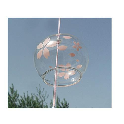 Japonais Carillon vent cloches en verre fait main cadeau d'anniversaire cadeau de Noël Maison un cerisier japonais Carillon (Fleur Rose)