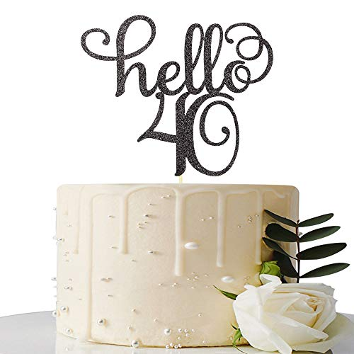 Black Glitter Hello 40 Cake Topper-40th Birthday/Wedding Anniversary Party Sign Decorations