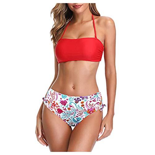 Juego de bikini para mujer de Transwen, con flores, soporte entallado, vintage, tamaño Push Up, dos piezas, ropa de playa rojo S