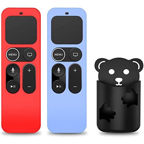 [2 STK.] NANTING Schutzhülle Kompatibel für Apple TV 4K Fernbedienung der 5Gen/4Gen Generation,Remote Case Holder Skin für Siri Fernbedienung, rutschfeste Stoßdämpfung Remote Cover (Rot + Glow Blau)