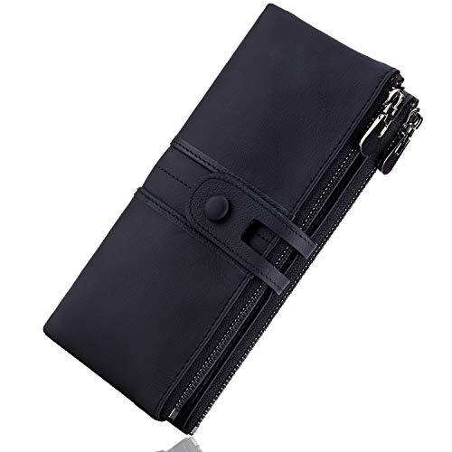 ROULENS - Portafogli da donna in vera pelle, multifunzione, sottile, con cerniera, grande capacità porta carte con RFID (nero)