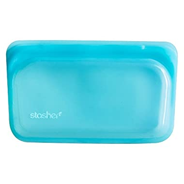 Stasher Reusable Silicone Food Bag, Snack Bag, Storage Bag, Aqua