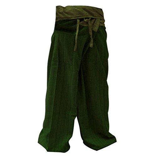 2 Tone Thai Fisherman Pants Yoga Trousers Free Size Cotton Red and Black