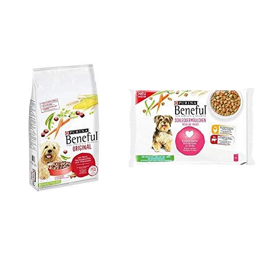 Beneful Trocken- und Nassfutter Mix-Pack, (1 x 12kg und 10 x 400g) Original Rind und Schleckermäulchen Huhn