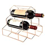 Vertex 6 Griglia per Bottiglie di Vino, Acciaio Inox Rame Placcato Autoportante Display Mensola, Esagonale Impilabile Armadietto Stand Cucina BAR Casa Craft Decorazioni - Oro Rosa