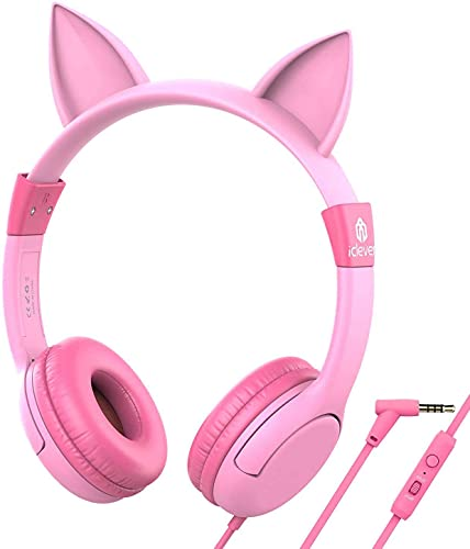 iClever Kids Headphones for Birthday Girls Gift – Cat Ear Headphones with Mic for Kids on Ear, Volume Limited 85/94dB – Wired Children Headphones for Online Learning/School/Travel/Tablet, Pink