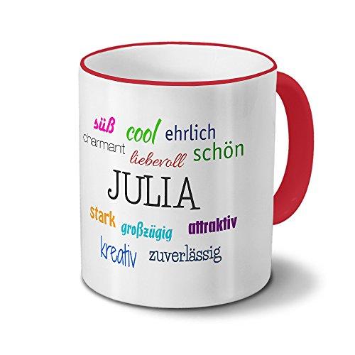 printplanet Tasse mit Namen Julia - Positive Eigenschaften von Julia - Namenstasse, Kaffeebecher, Mug, Becher, Kaffeetasse - Farbe Rot
